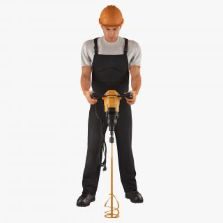 3D Worker with Electric Cement Mixer model