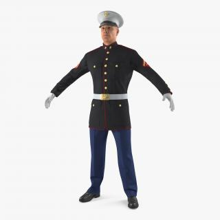 3D US Marine Corps Soldier in Parade Uniform