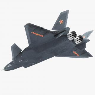 Stealth Chengdu J-20 Rigged 3D