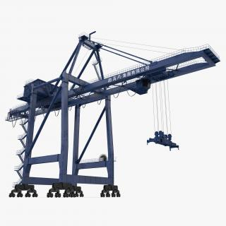 Container Crane Rigged Blue 3D