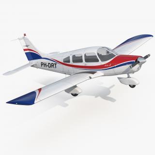 Light Aircraft Piper PA-28-161 Warrior III Rigged 3D model