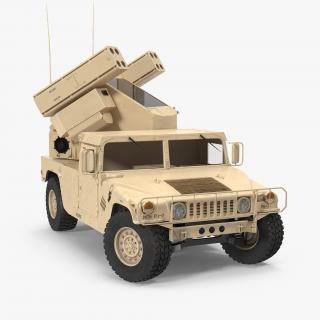 3D HMMWV M998 Equipped with Avenger Desert Rigged