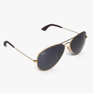 Classic Sunglasses Ray Ban Aviator Blue 3D model