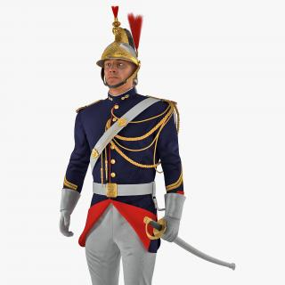3D French Republican Guard Standing Pose with Fur