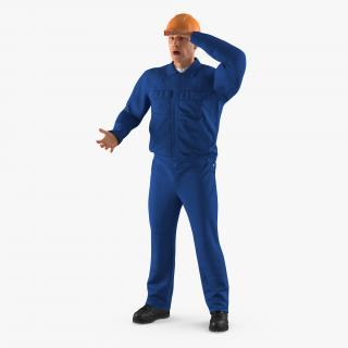 3D Construction Worker Wearing Blue Overalls Rigged model