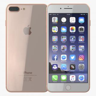 3D iPhone 8 Plus Gold model