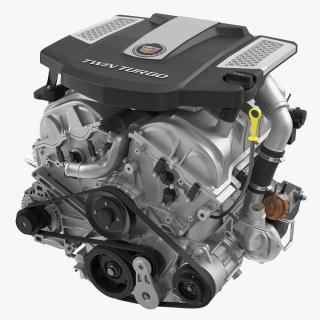 3D Cadillac Twin Turbo V6 Car Engine model