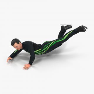 3D Male Figure Skater 2 Falling Down model
