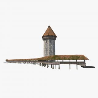 3D Chapel Bridge Wooden Footbridge