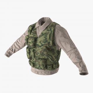 Military Shirt and Camouflage Vest 3D model
