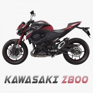 3D Motorcycle Kawasaki Z800 Red model