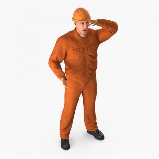 Builder Wearing Orange Coveralls Rigged 3D model