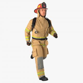 3D US Firefighter Rigged