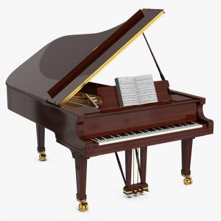 3D Grand Piano with Music Notes Book model