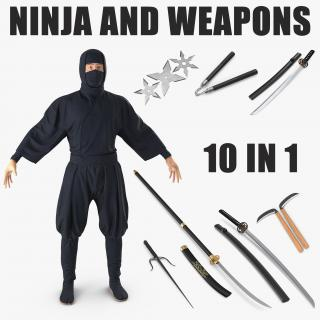 3D Ninja and Weapons Collection model