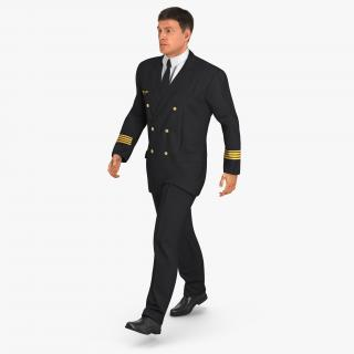 3D model Airline Pilot with Fur Walking