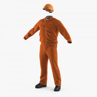 Factory Work Wear Overalls Uniform with Hardhat 3D