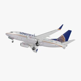 3D Boeing 737-600 with Interior United Airlines Rigged