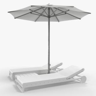 3D Sun Loungers with Umbrella 2 model