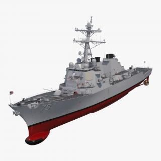 Arleigh Burke Destroyer Porter DDG-78 Rigged 3D model