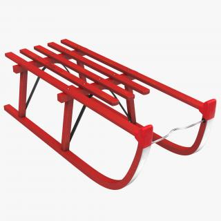 3D model Snow Wooden Sled Red