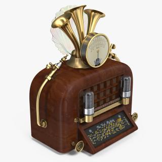 3D Steampunk Vintage Radio model