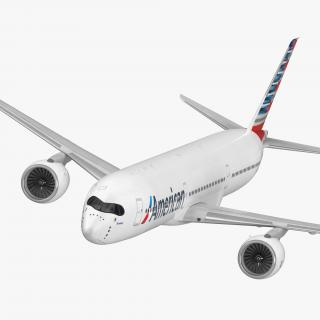 3D Airbus A350-1000 American Airlines Rigged