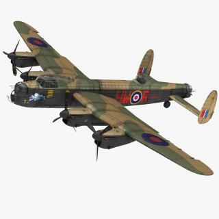 British Heavy Bomber Avro Lancaster WWII Rigged 3D