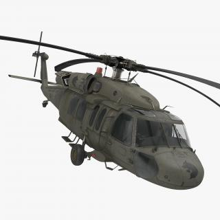 3D Sikorsky UH-60 Black Hawk US Military Utility Helicopter Rigged model