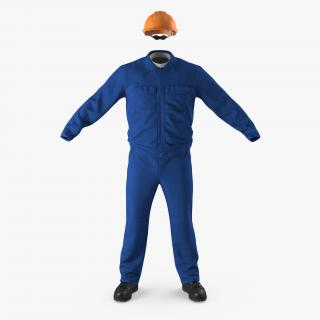 Boiler Suit Coverall with Safety Helmet 3D model