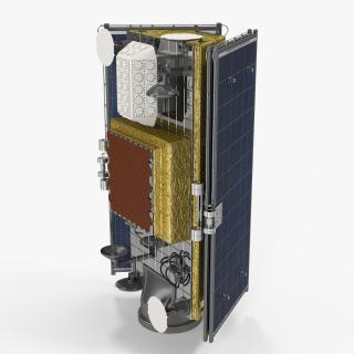 Satellite with Collapsed Solar Panels 3D