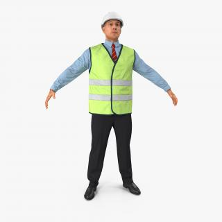 3D Construction Architect in Yellow Safety Jacket