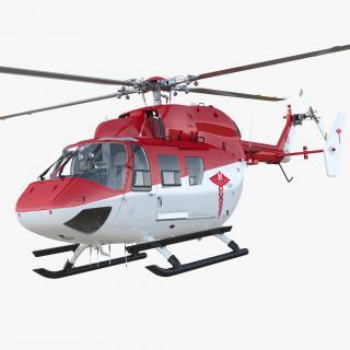 3D model Kawasaki BK 117 Air Ambulance Helicopter