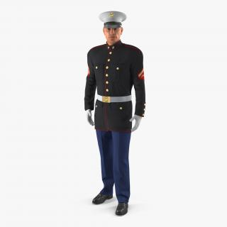 3D US Marine Corps Soldier in Parade Uniform Rigged model