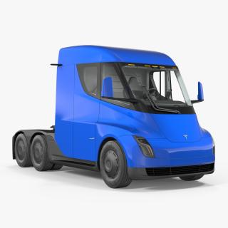 3D Electric Semi Truck Tesla Simple Interior