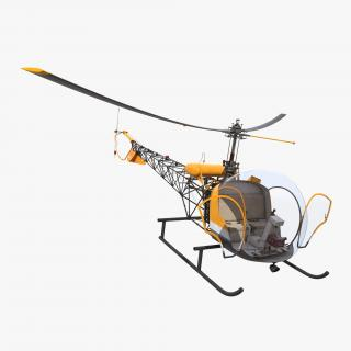 3D Light Helicopter Bell 47 Rigged