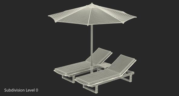 3D Sun Loungers with Umbrella