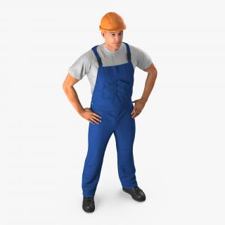 3D Construction Worker with Hardhat Standing Pose