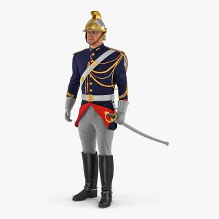 3D 1872 French Cuirassier Standing Pose