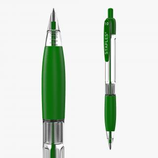 3D Retractable Ballpoint Pen Green
