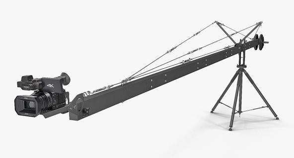3D model Professional Camera Full HD Camcorder Panasonic HC X1000 on Crane