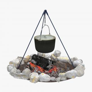 3D Campfire with Tripod and Cooking Pot