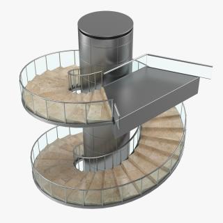 Modern Round Stairs 3D model