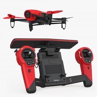 3D model Parrot Bebop Quadcopter Drone Set Rigged
