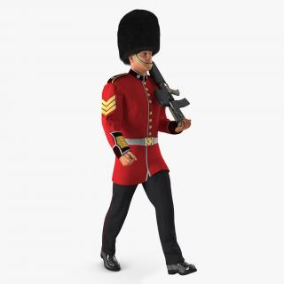 3D model Marching Royal British Guard Holding Gun