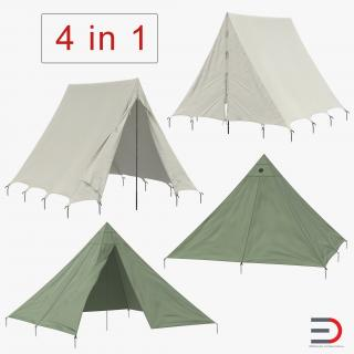 Vintage Camping Tents Collection 3D