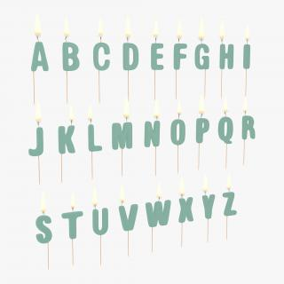 3D model Alphabet Birthday Candles Set with Flame