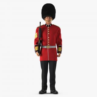3D British Royal Guard Holding Gun