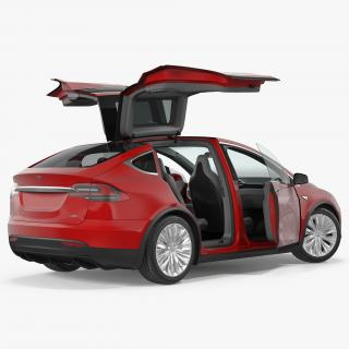 Tesla Model X 90D 2017 Rigged 3D model