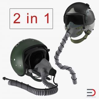 3D Jet Fighter Pilot Helmets Collection